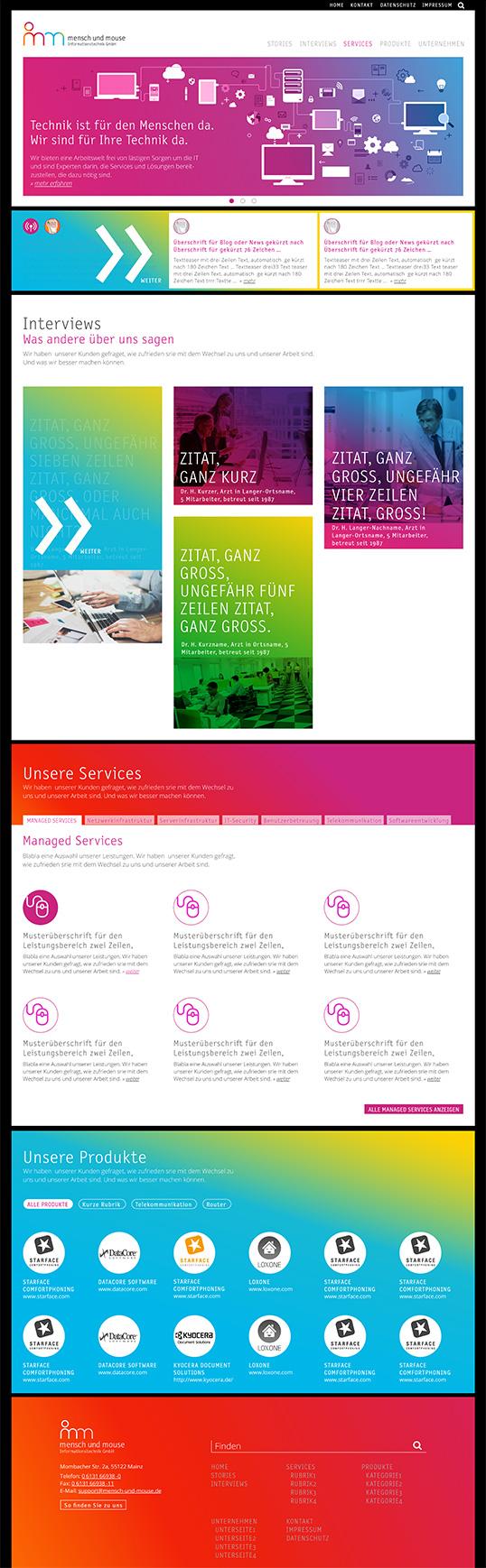 Mensch und Mouse, Website-Entwurf